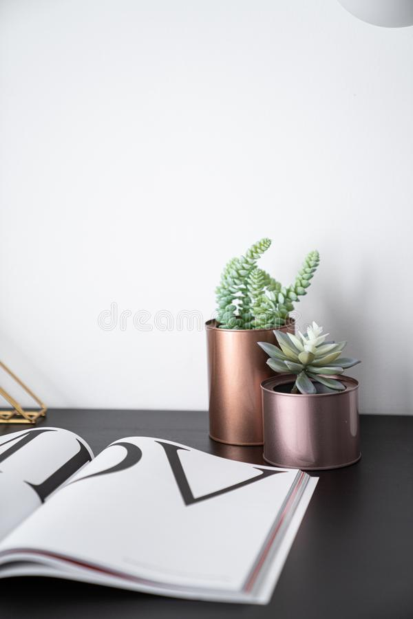 Composition of artificial plants copper vase and gold stylish table lamp in mid century modern design standing on black wooden top royalty free stock photo