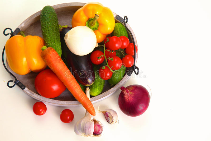 Composition with assorted raw organic vegetables on table.  royalty free stock photo