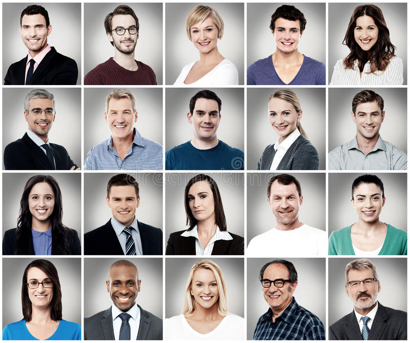 Composition of attractively smiling people royalty free stock image
