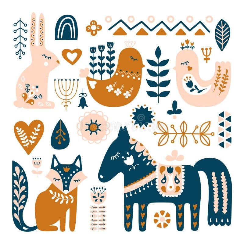 Composition avec des animaux d'art populaire et des éléments décoratifs illustration libre de droits