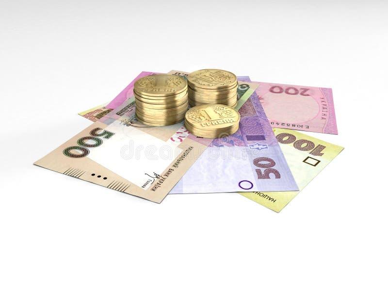 Composition avec des pièces de monnaie et des billets de banque d'argent ukrainien illustration libre de droits