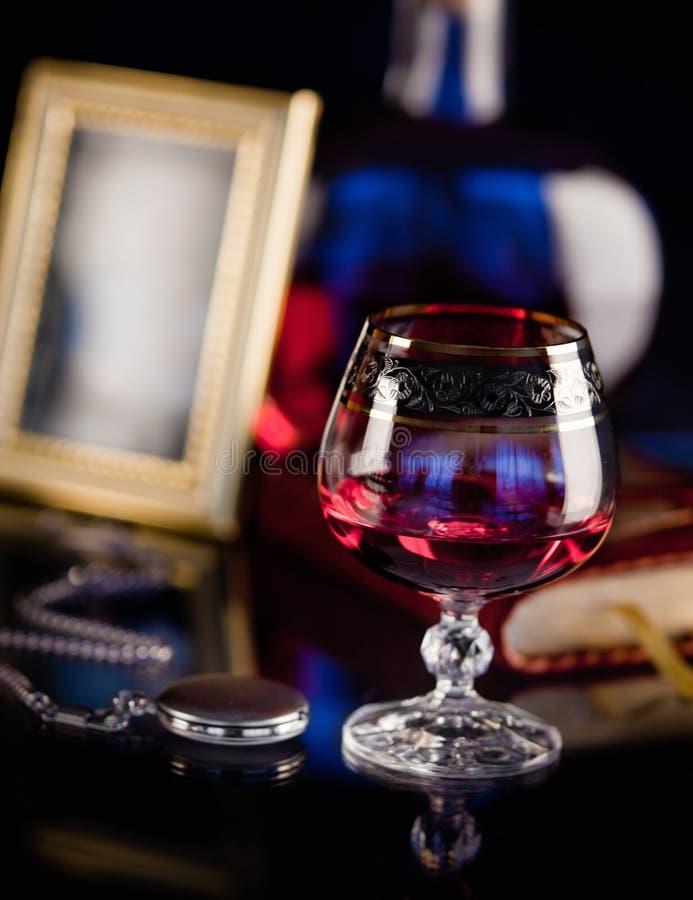 Composition avec la glace du cognac images libres de droits
