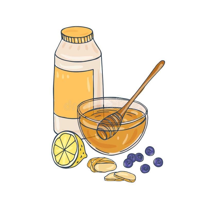Composition avec le pot, bol en verre complètement de miel, plongeur, citron coupé, gingembre coupé en tranches, myrtilles d'isol illustration libre de droits