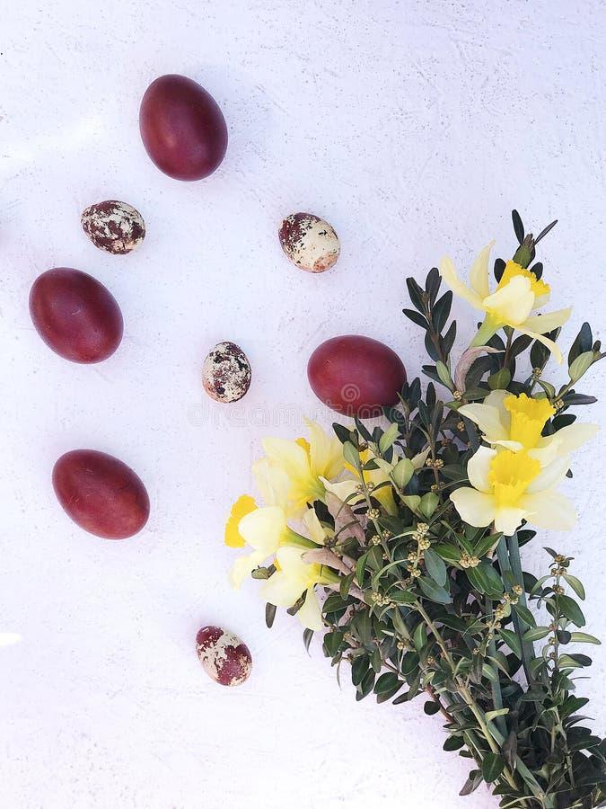 Composition avec les oeufs peints de poulet et de caille dans le nid et les fleurs photos libres de droits