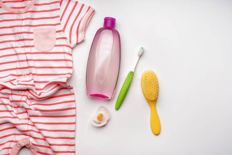 Composition with baby care accessories on white background stock image