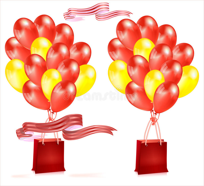 Composition with balloons . Composition with balloons and red and yellow gift bag with ribbon vector illustration