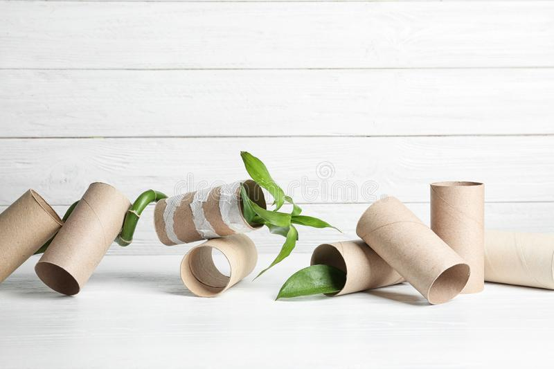 Composition with bamboo plant and empty toilet paper rolls on table. Space for text royalty free stock images