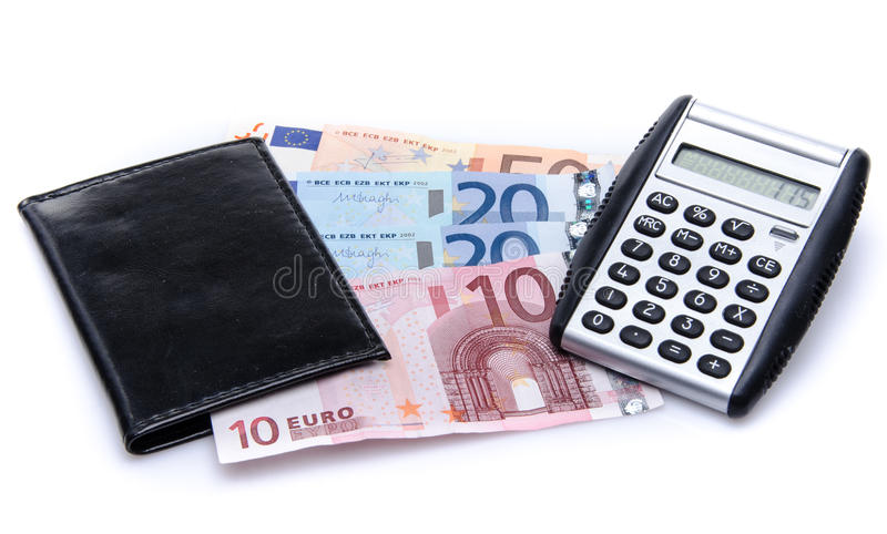 Composition with banknotes, a wallet and a calculator. Isolated on white royalty free stock photos