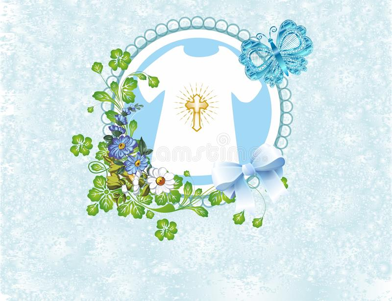 Composition for baptism. Composition with symbols characteristic of baptism vector illustration