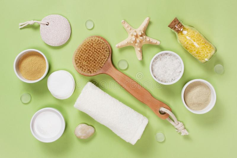 Composition of bath accessories on the green background stock images