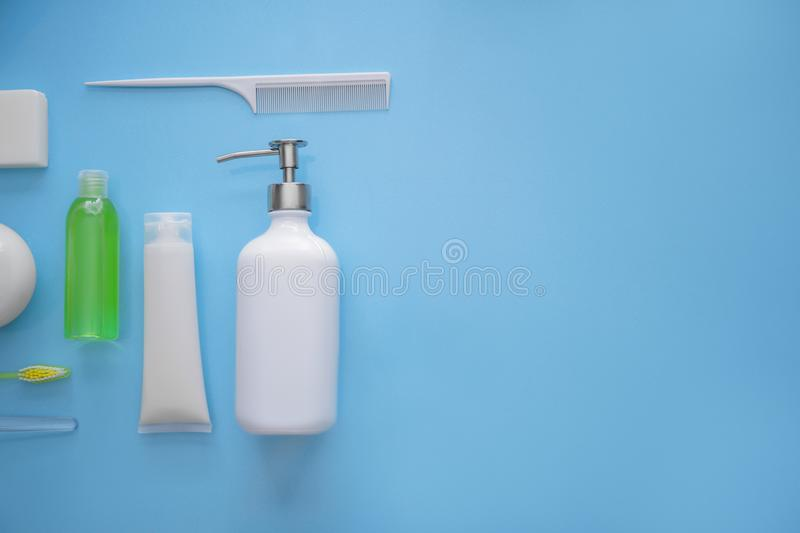 Composition with bathroom amenities on color background stock photography