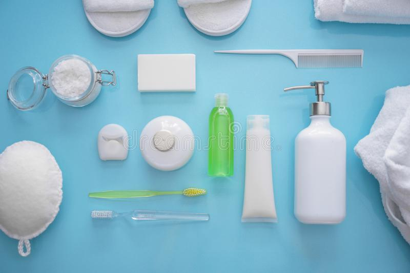 Composition with bathroom amenities on color background royalty free stock photography