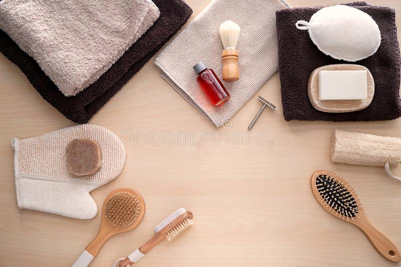 Composition with bathroom amenities on wooden background royalty free stock images