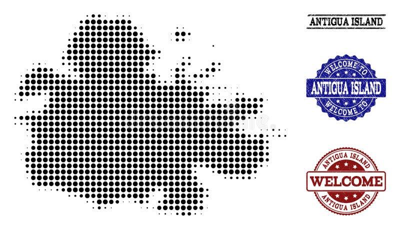 Composition bienvenue de la carte tramée de l'île de l'Antigua et des joints texturisés illustration libre de droits