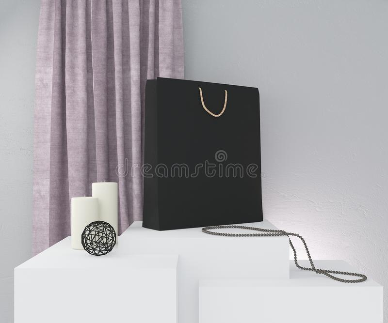 Composition with black paper bag, rose curtain, candles and decor on grey wall. 3D rendering. stock illustration