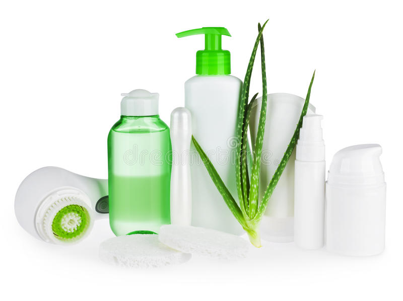 Composition of body care and beauty products isolated on white stock image
