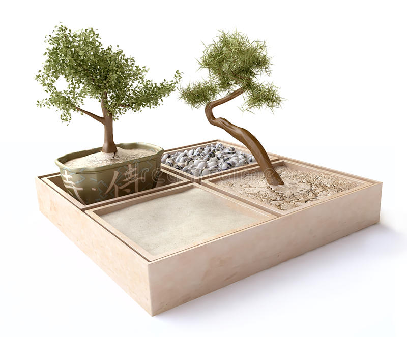 Composition with Bonsai Trees in Japanese Style royalty free illustration