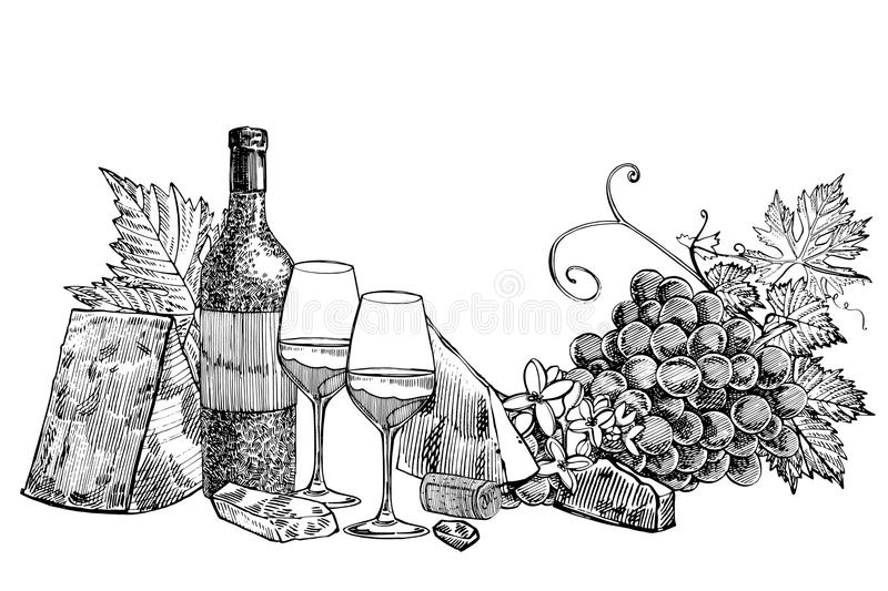 Composition of a bottle of wine, two glasses, parmesan cheese, grapes and leaves with olives. Hand drawn engraving style. Illustrations. Banners of wine vintage stock illustration