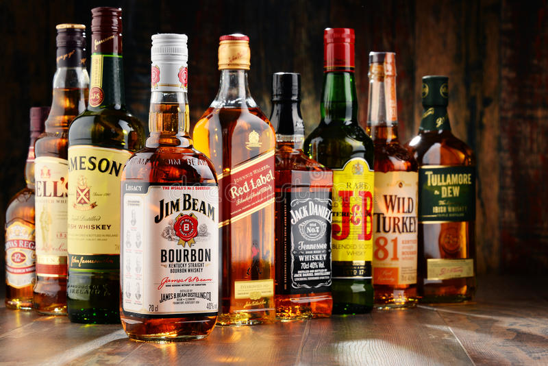 Composition with bottles of popular whiskey brands for Most popular whiskey drinks