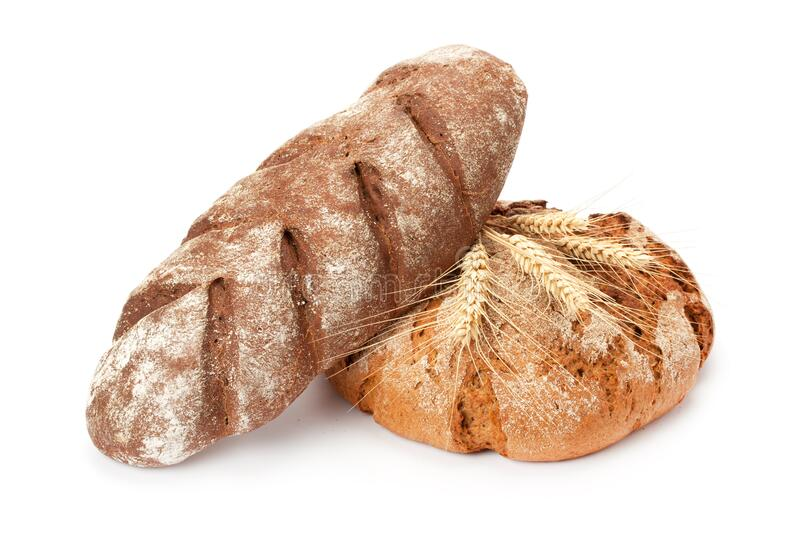 Composition with bread and wheat ears stock photo