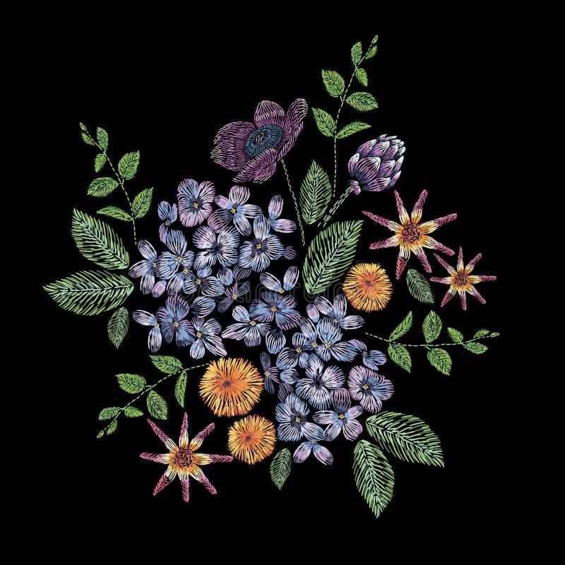Composition brodée avec la branche du lilas, des fleurs et des feuilles Conception florale de broderie de point de satin sur le n illustration libre de droits