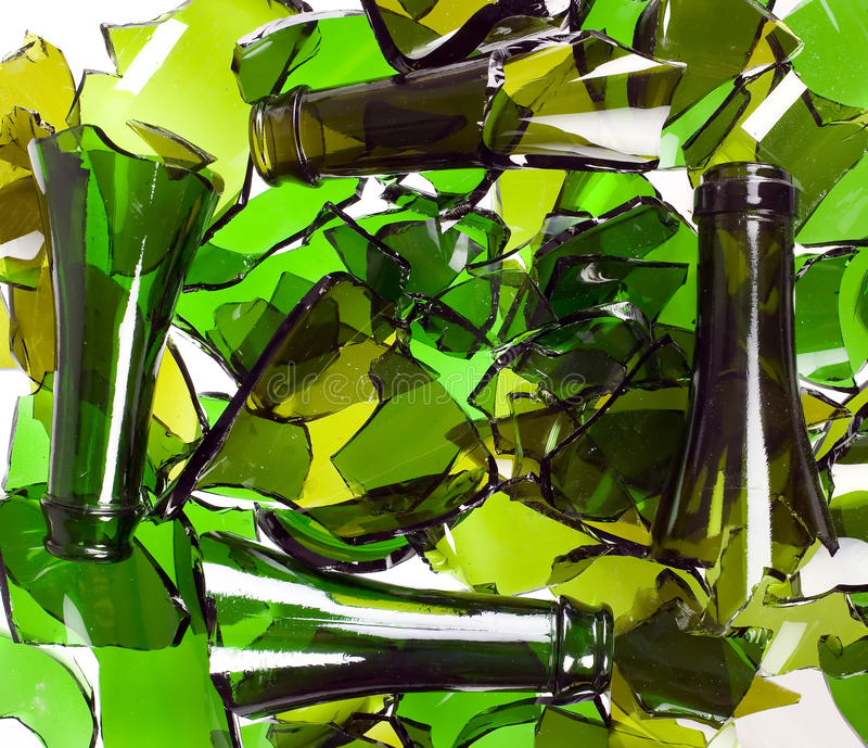 Composition of broken bottles royalty free stock photography