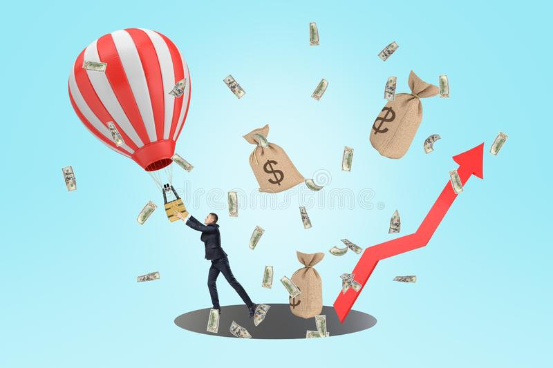 A composition with a businessman trying to keep hold of a hot-air balloon, with dollar bills and money bags flying. Around and a red arrow pointing upwards royalty free illustration