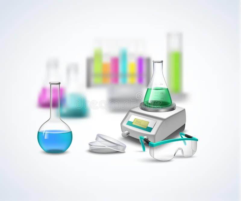 Composition chimique en équipement illustration stock