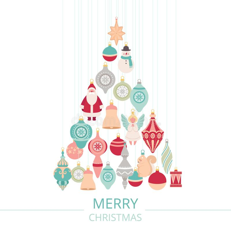 Composition of Christmas balls and toys hung in the shape of a Christmas tree. Holiday poster with text vector illustration
