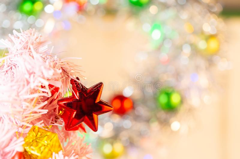 Composition with Christmas decorations fir tree on white background royalty free stock photo