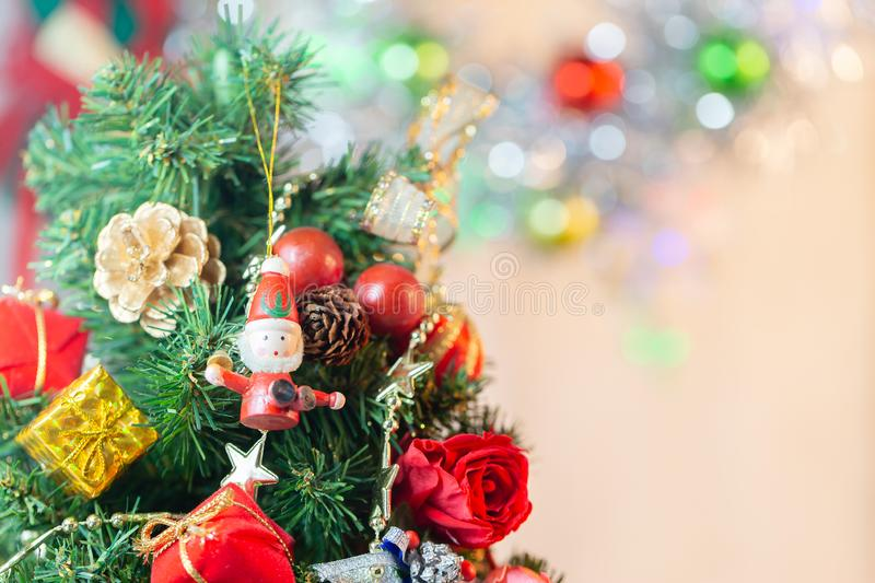 Composition with Christmas decorations fir tree on white background stock photography