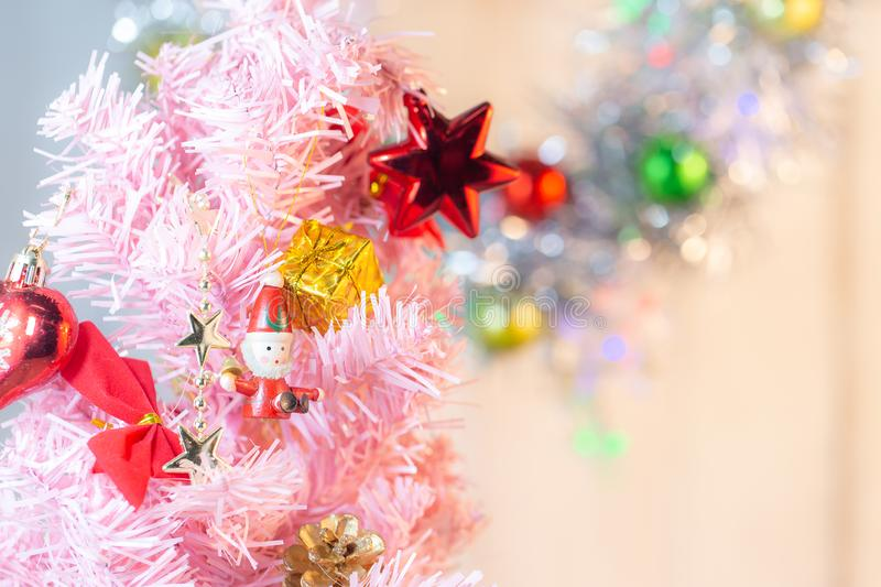 Composition with Christmas decorations fir tree on white background stock photo