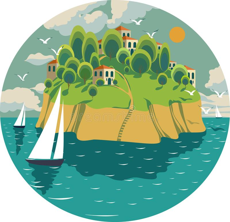 Composition in a circle with a summer sea landscape on a sunny day, stock illustration