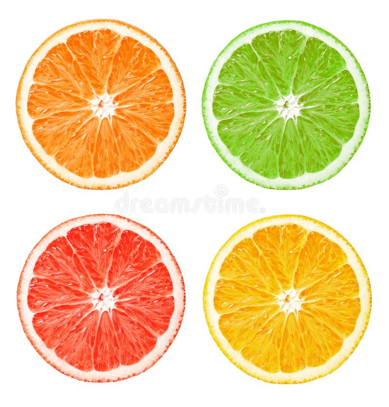 The composition of citrus slices. On a white isolated background. Orange, lemon, lime, grapefruit. Clear texture royalty free stock images