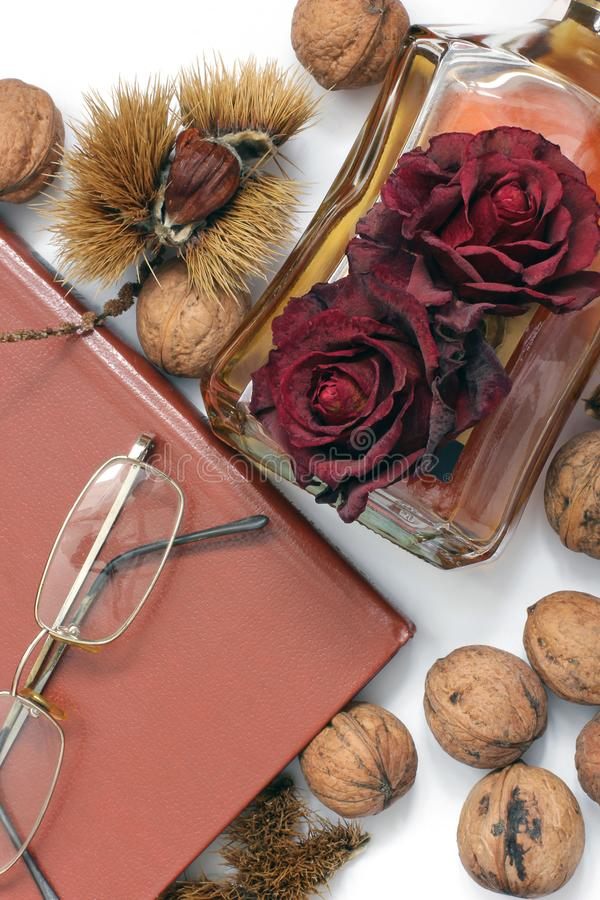 Composition. Cognac, a closed book, glasses and chestnuts royalty free stock photography