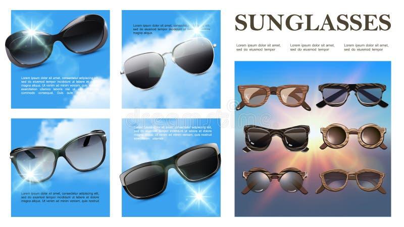 Composition colorée en lunettes de soleil réalistes illustration de vecteur