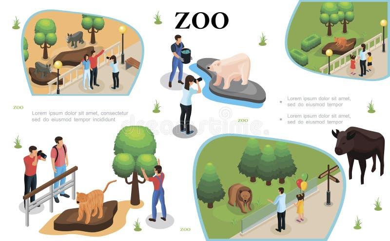 Composition colorée en zoo isométrique illustration libre de droits