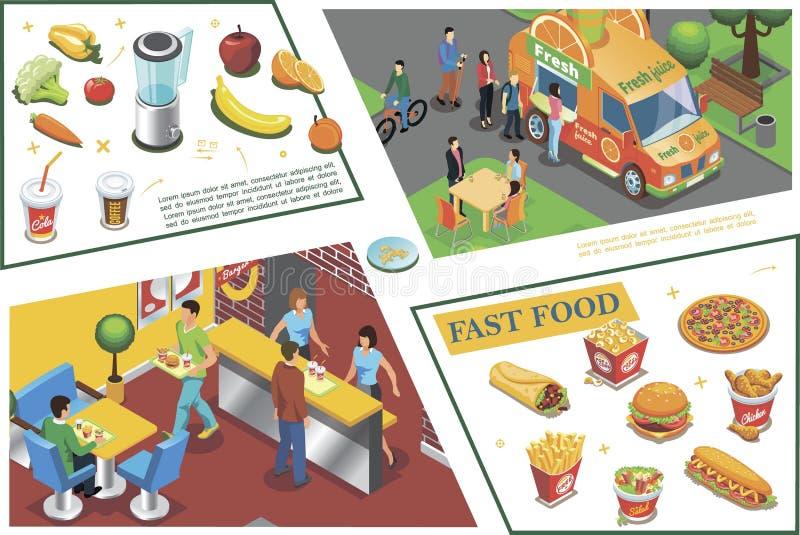 Composition colorée isométrique en aliments de préparation rapide illustration de vecteur