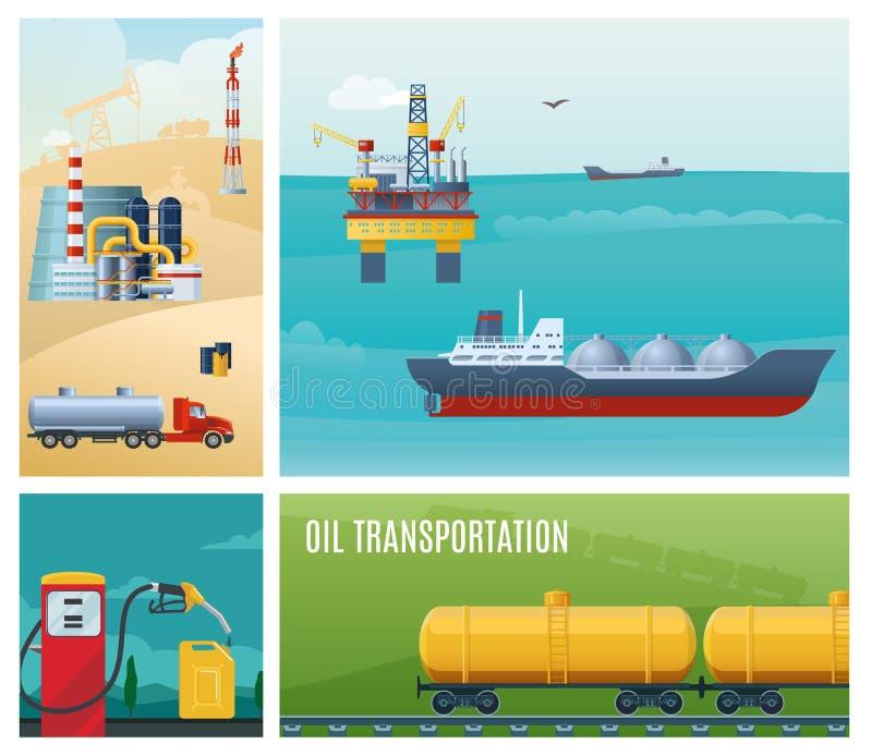 Composition colorée plate en industrie pétrolière  illustration stock