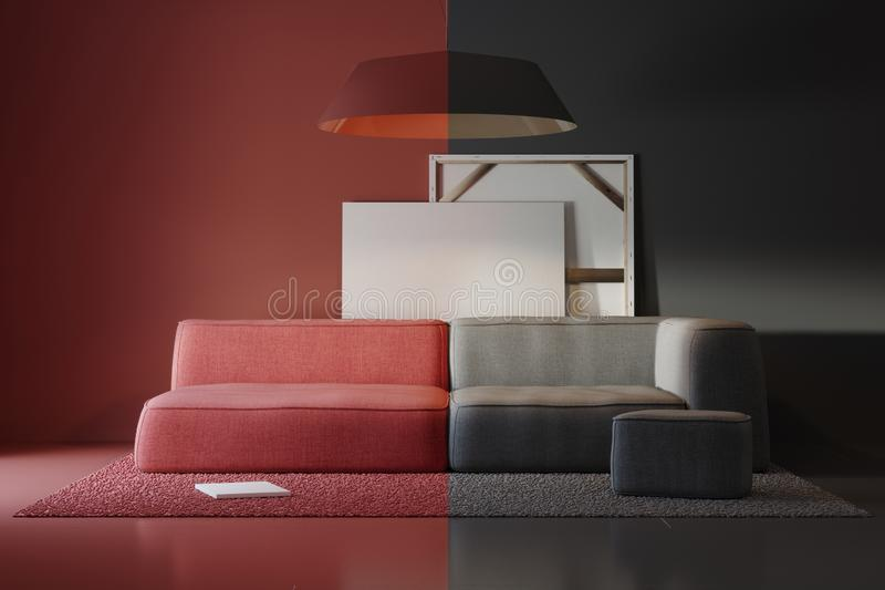Composition of colored interior items in the studio vector illustration