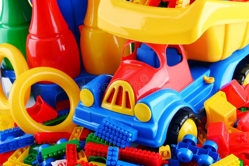 Composition with colorful plastic children toys.  stock images