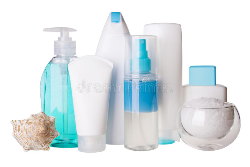 Composition of cosmetic bottles and spa salt stock images