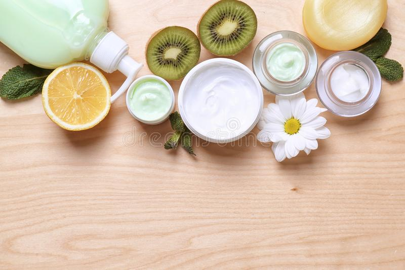 Composition with cosmetic products for body care royalty free stock images