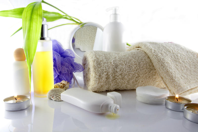 Composition of cosmetics. With green tree royalty free stock photography