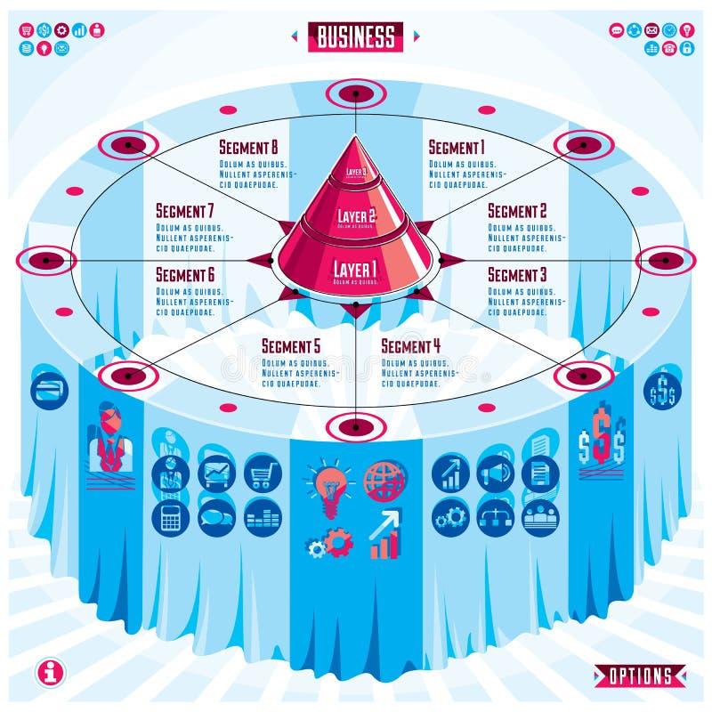 Composition créative en infographics, table 3d avec la pyramide posée illustration stock