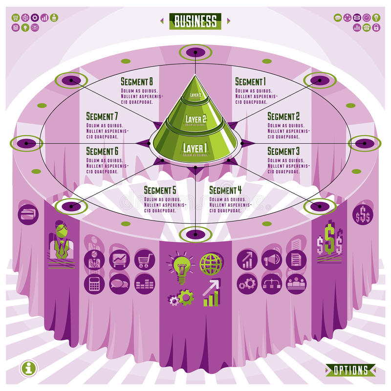 Composition créative en infographics, table 3d avec la pyramide posée illustration libre de droits