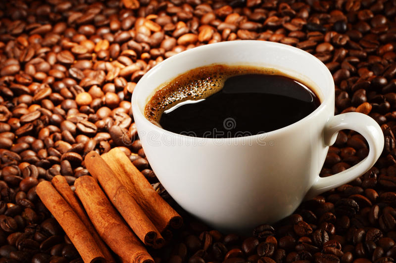 Download Composition With Cup Of Coffee And Beans Stock Image - Image: 35643423