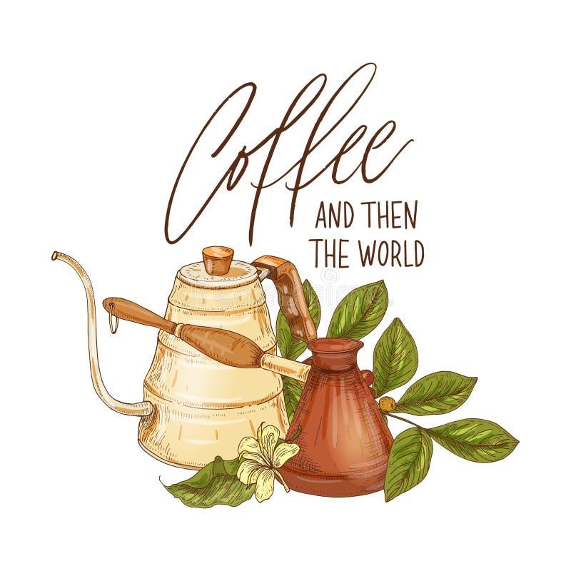 Composition décorative avec le pot de café, le cezve, la branche avec des baies et les fleurs et le café d'expression et puis le  illustration stock