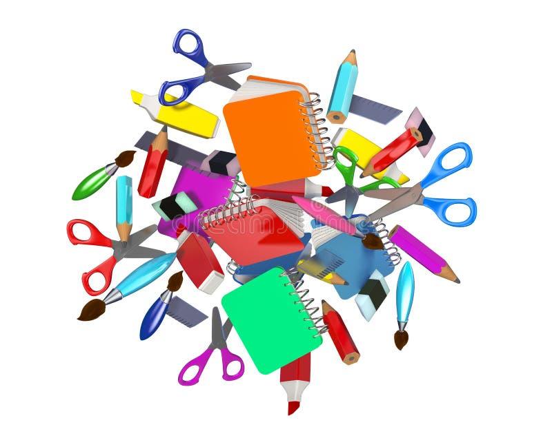 Composition décorative colorée avec de nombreux objets en rapport avec l'école illustration de vecteur