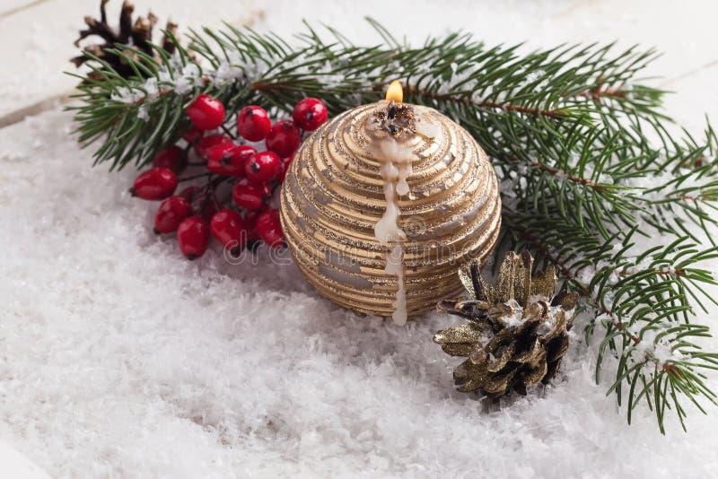 Composition décorative de Noël Carte de vacances des vacances postcard images stock